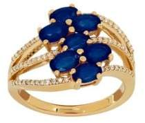 Lord & Taylor Sapphire, Diamond & 14K Gold Ring