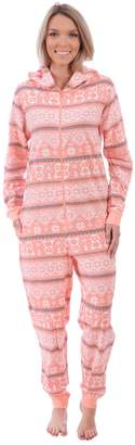 Body Candy Loungewear Women's Adult Knit Hooded Onesie Pajama (Penguin Fair Isle,)