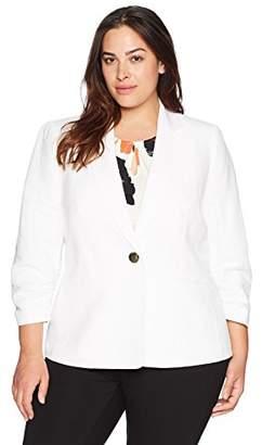 Kasper Women's Size Plus 1 BTN Linen Notch Collar JKT W/Pockets