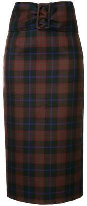 Le Ciel Bleu checked pencil skirt