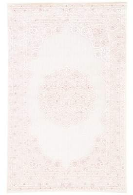 Bungalow Rose Fontanne Machine-Woven Chenille Ivory/Baby Pink Area Rug