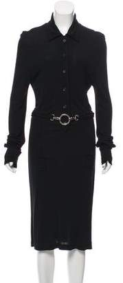 Paco Rabanne Long Sleeve Midi Dress