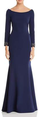 Laundry by Shelli Segal Embellished Boatneck Gown