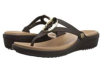 Crocs Sanrah Hammered Metallic Wedge Flip Women's Wedge Shoes