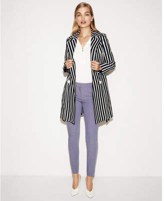 Express navy striped belted trench coat
