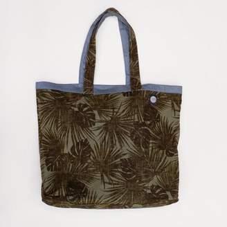 Blade + Blue Olive Green Botanical Print & Solid Steel Blue Reversible Jumbo Tote Bag