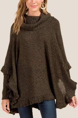 francesca's Hanna Long Sleeve Cowl Poncho - Olive