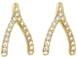 Jennifer Meyer Diamond Wishbone Stud Earrings - Yellow Gold