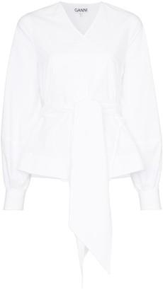 Ganni tie-waist wrap blouse