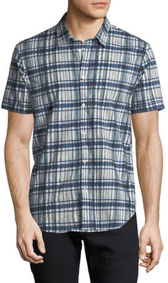 John Varvatos Men's Plaid Short-Sleeve Sport Shirt