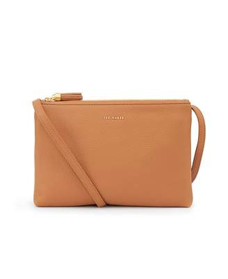 6ca058b746 Ted Baker Double Zip Leather Crossbody Bag Colour: BLACK, Size: One Si