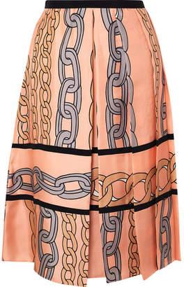 Marni Printed Pleated Silk-twill Midi Skirt
