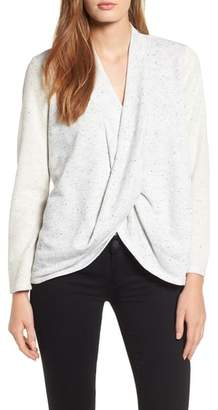 Chaus Speckled Drape Front Terry Top