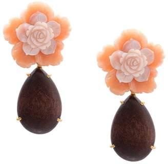 Bounkit Jewelry flower clip-on earrings