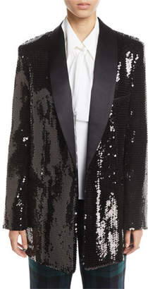 Michael Kors Sequined Long Boyfriend Blazer
