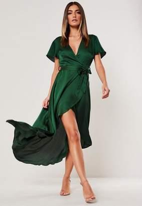 Missguided Green Satin Wrap Front Ruffle Midi Dress
