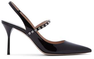 Miu Miu Crystal Strap Patent Leather Slingback Pumps - Womens - Black