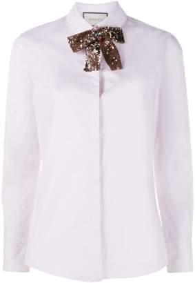 Gucci sequin neck tie shirt