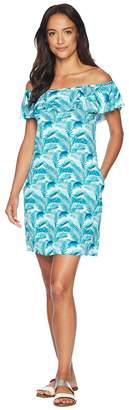 Tommy Bahama Among Fronds Ruffle Spa Dress Cover-Up Women's Swimwear
