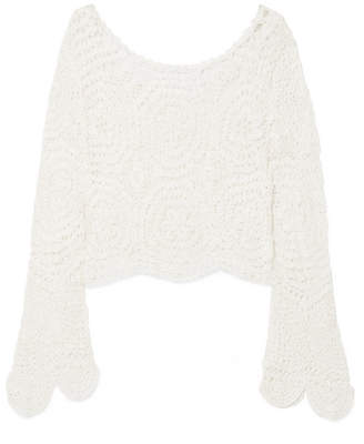LoveShackFancy Alicia Crocheted Lace Top - Off-white
