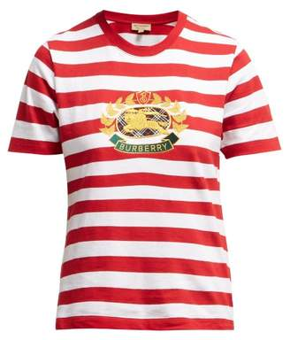 Burberry Crest Embroidered Cotton T Shirt - Womens - Red White