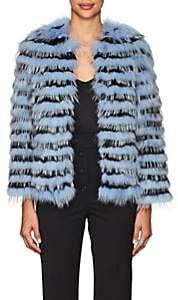 Barneys New York Women's Striped Rabbit & Fox Fur Jacket-Navy
