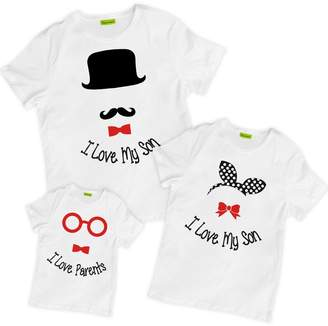 picontshirt Matching Family I Love My Son Parents Hat Ribbon Glasses T-Shirts