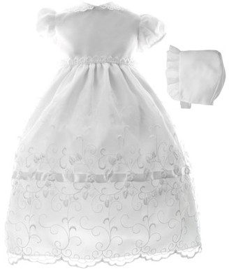 Little Angels Newborn Baby Girl Organza Embroidered Christening Dress w Lace Trim Collar and Bonnett