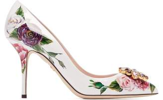 Dolce & Gabbana Rose Print Patent Leather Pumps - Womens - White Multi