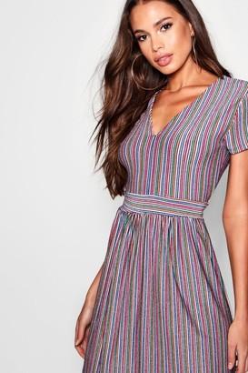 boohoo Metallic Rainbow Stripe Relaxed Midi Dress