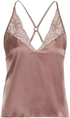 Fleur Of England - Lace Trimmed Silk Camisole Top - Womens - Light Brown
