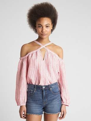 Gap Cold-Shoulder Stripe Top in Linen
