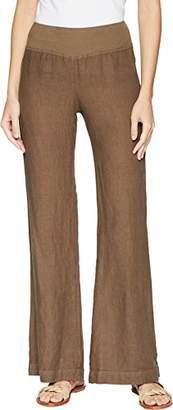 Three Dots Women's Woven Linen Wide Leg Flare Long Pant