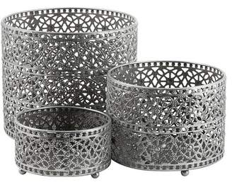 EIGHTMOOD Antique Silver Adila Candle Holder/Lantern/Outer Pot - Set of 3