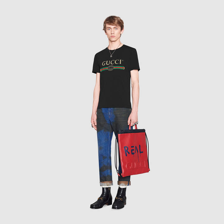 Washed t-shirt with Gucci print 3