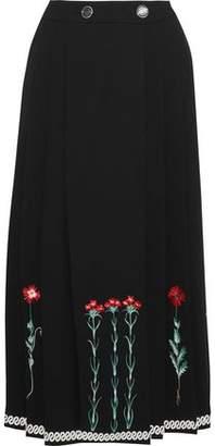 Temperley London Creek Embroidered Crepe Wrap Midi Skirt