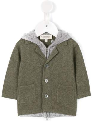 Cashmirino Double layered hooded cardigan