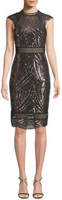 Saylor Heloise Sequin Open-Back Dress