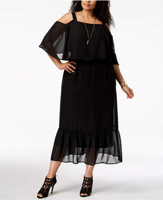 NY Collection Plus & Petite Plus Size Cold-Shoulder Maxi Dress