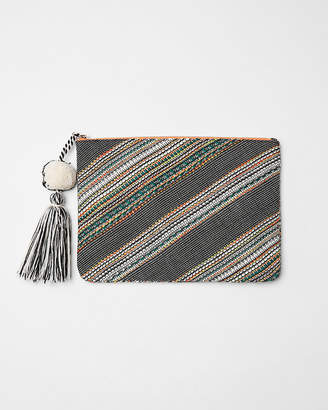Express Striped Tassel Pouch