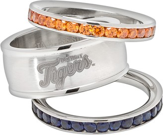 Logoart LogoArt Detroit Tigers Stainless Steel Crystal Stack Rings