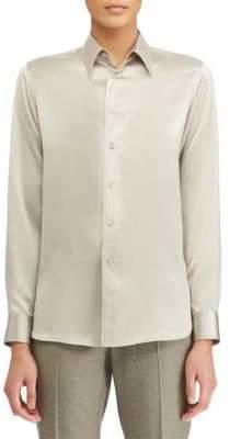 Ralph Lauren Bacall Silk Long-Sleeve Shirt