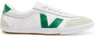 Veja Volley Organic Cotton-canvas, Suede And Leather Sneakers - White