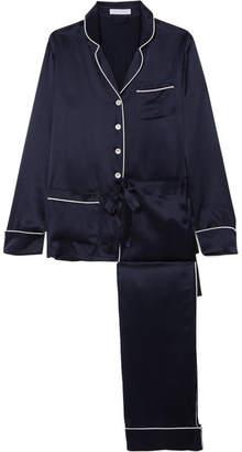 Olivia von Halle - Coco Shen Embellished Silk-satin Pajama Set - Navy