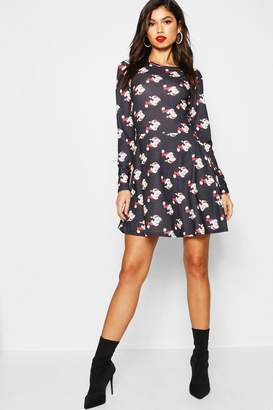 boohoo Disney Christmas Santa Mickey Skater Dress