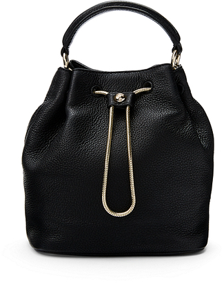 Love Power Leather Drawstring Bucket Bag $298 thestylecure.com