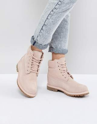 Timberland 6 Inch Premium Rose Suede Flat Boots