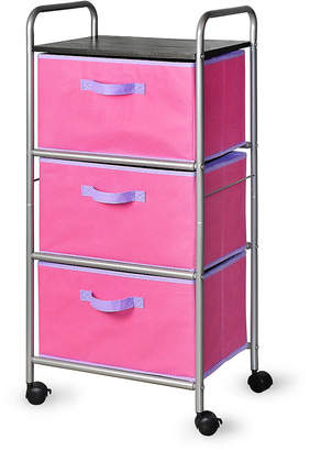 Bintopia 3-Drawer Cart with Mdf Top, Pink