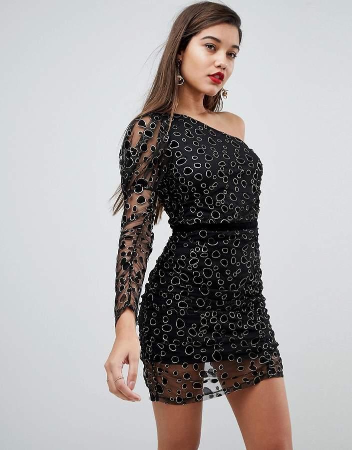 Asos Animal Sparkle One Shoulder Puff Sleeve Mini Dress