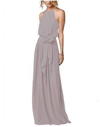 Botong Halter Neck Bridesmaid Dress Off the Shoulder Long Chiffon Dress